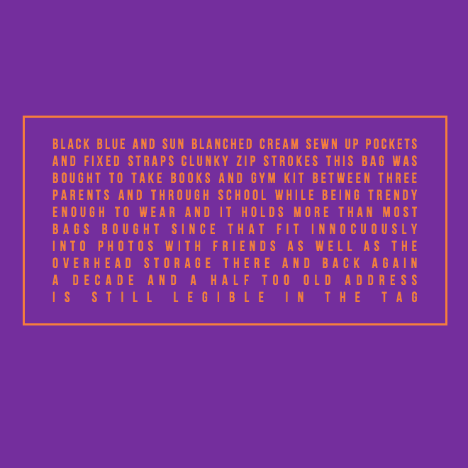 this bag poem by jack mann in orange font on purple background in shape of luggage tag