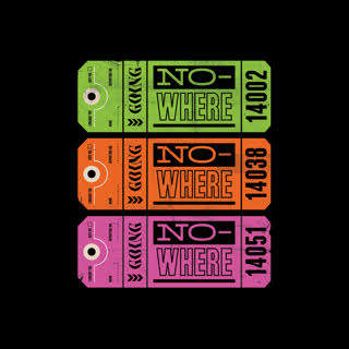 brightly coloured luggage tags on a black background by oliver deans