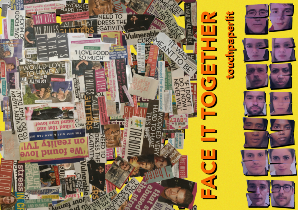cut up newspaper and faces arranged for touchpaperlit face it together project front cover